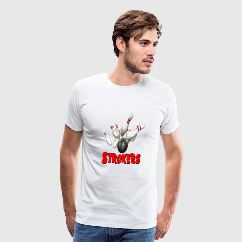 White Bowling Team Strokers T-Shirts - Men's Premium T-Shirt