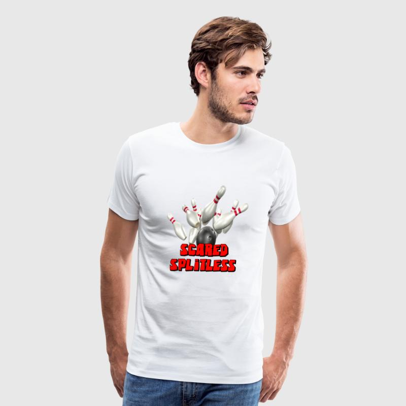 White Bowling Team Scared Splitless T-Shirts - Men's Premium T-Shirt