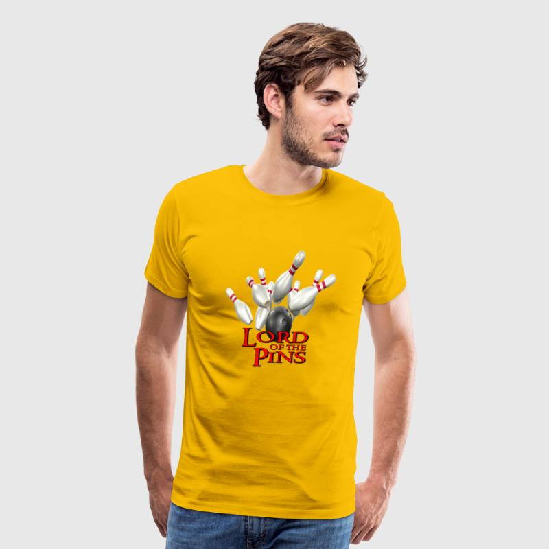 Gold Bowling Team Lord of the Pins T-Shirts - Men's Premium T-Shirt