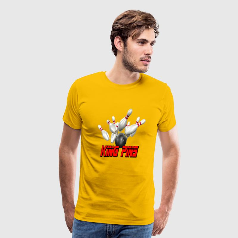 Yellow Bowling Team King Pins T-Shirts - Men's Premium T-Shirt