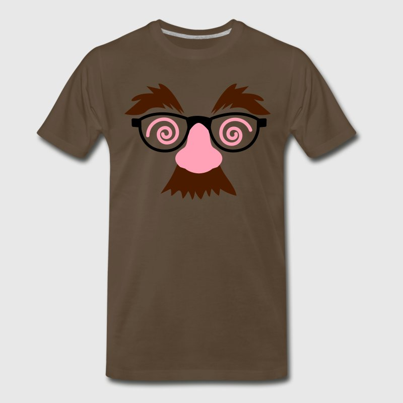 Brown disguise fake moustache and glasses with crazy eyebrows  T-Shirts - Men's Premium T-Shirt