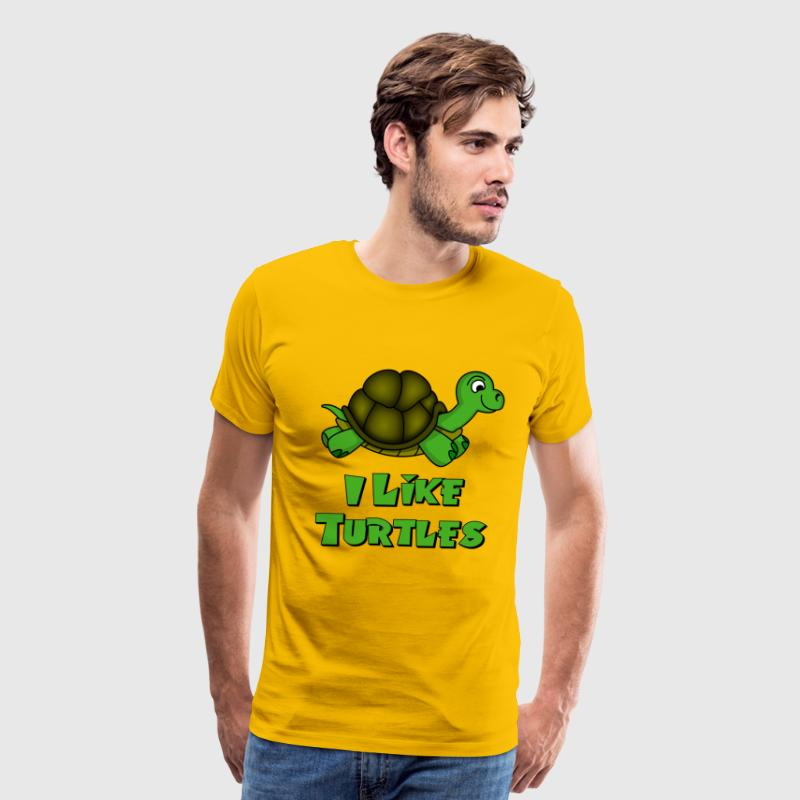 Yellow I Like Turtles Zombie T-Shirts - Men's Premium T-Shirt