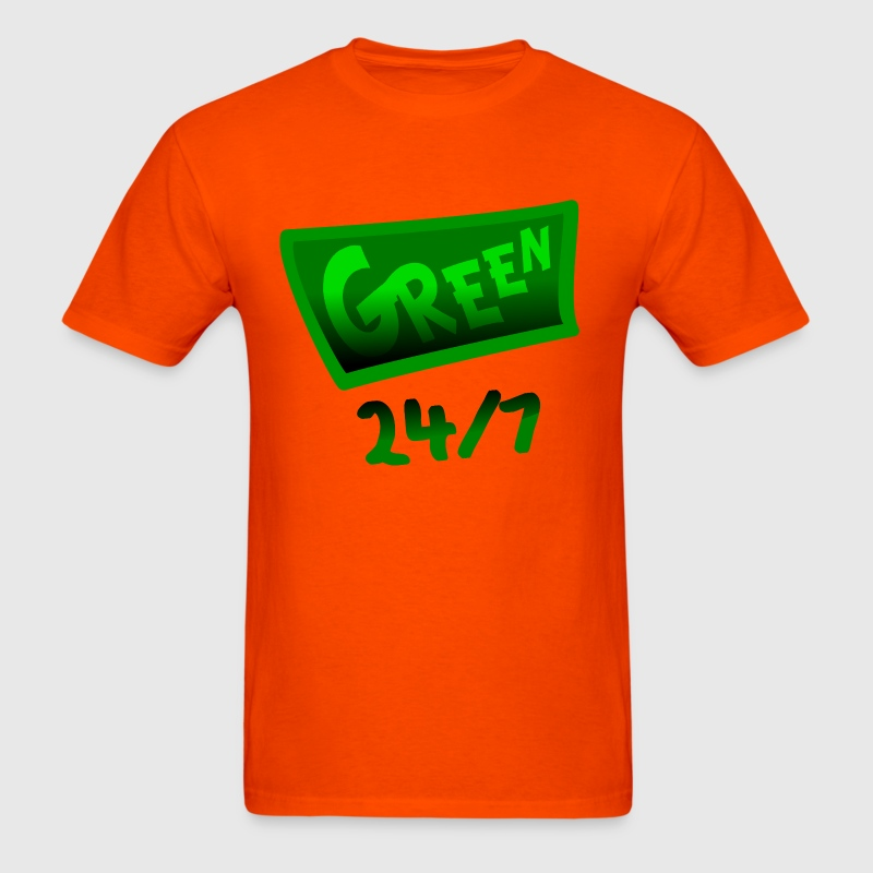 Orange Green 24-7 With Unusual Banner And Shading--DIGITAL DIRECT PRINT T-Shirts - Men's T-Shirt