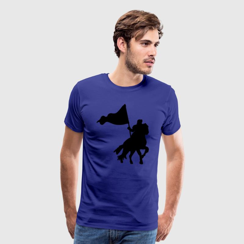 Royal blue MEDIEVAL FESTIVAL knight on a horse with a flag  T-Shirts - Men's Premium T-Shirt