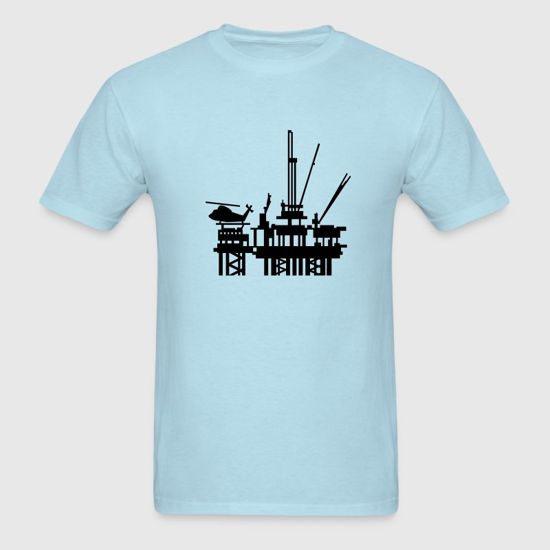 Sky blue offshore oil rig (1c) T-Shirts - Men's T-Shirt