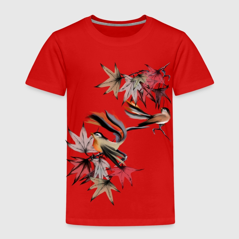 Autumn Leaves and Two Birds - Toddler Premium T-Shirt