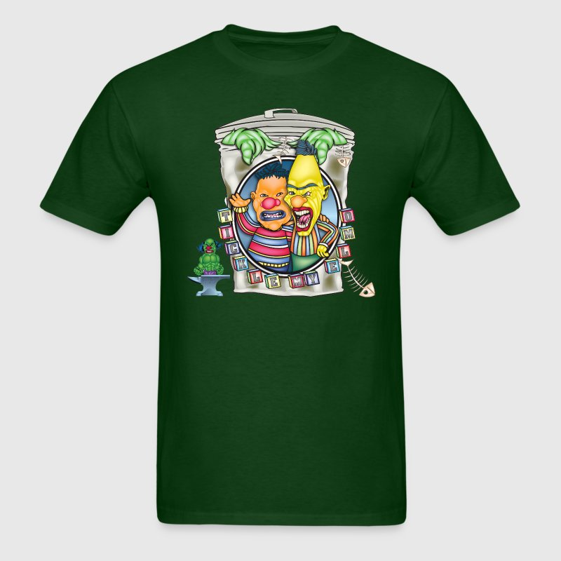 Forest green Evil Clown Ernie N' Bert T-Shirts - Men's T-Shirt