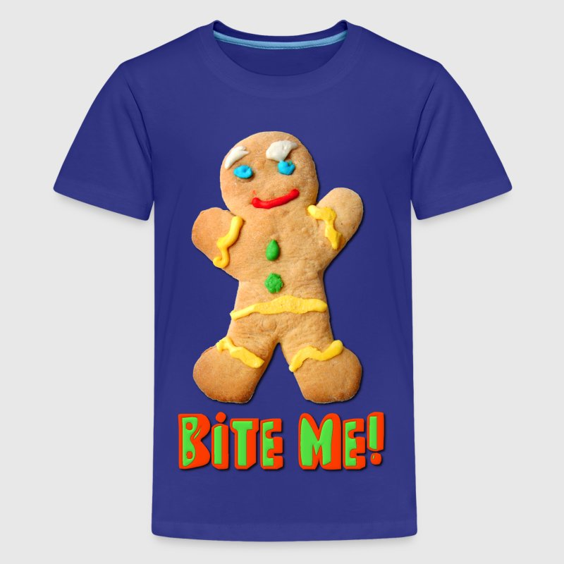 Bite Me Gingerbread Man Kids' Shirts - Kids' Premium T-Shirt