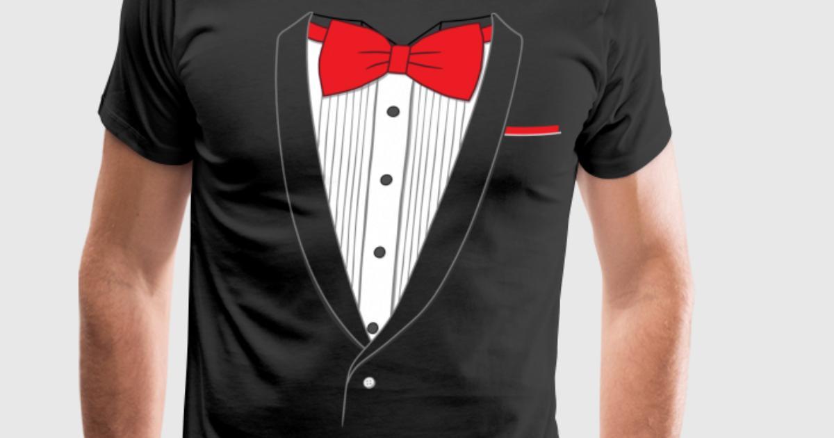 Fake tuxedo red tie t shirt spreadshirt for Make your own tuxedo t shirt