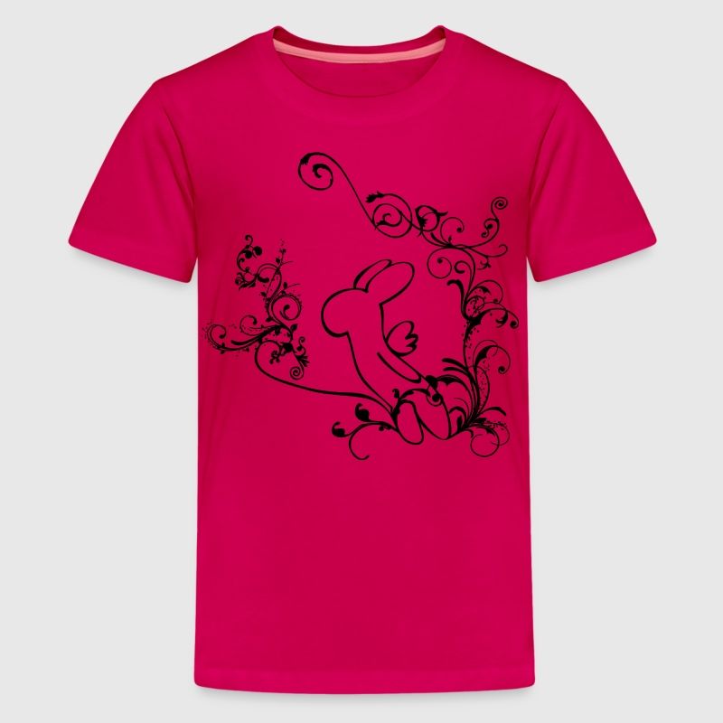 Angel bunny rabbit hare leveret heaven wings twine tendril cirrus flowers blossom bloom bimbo Kids' Shirts - Kids' Premium T-Shirt
