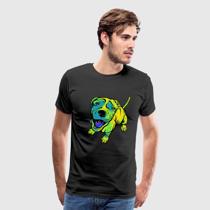 Happy Fido in Green T-Shirts - Men's Premium T-Shirt