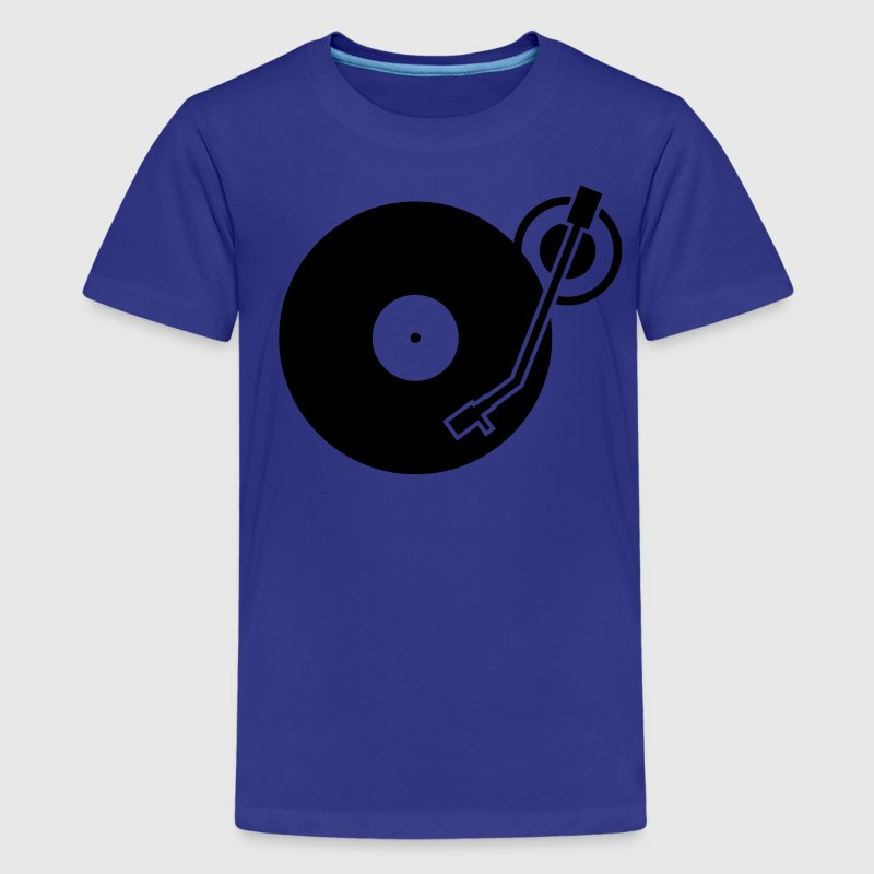 headphones record disc platter disk dj record play techno minimal Kids' Shirts - Kids' Premium T-Shirt