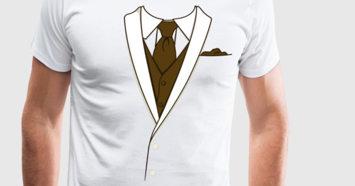 Fake cream tuxedo t shirt spreadshirt for Make your own tuxedo t shirt