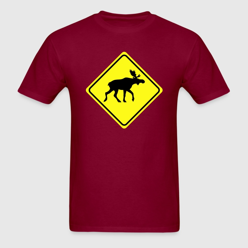 warning sign elk moose 2col T-Shirts - Men's T-Shirt