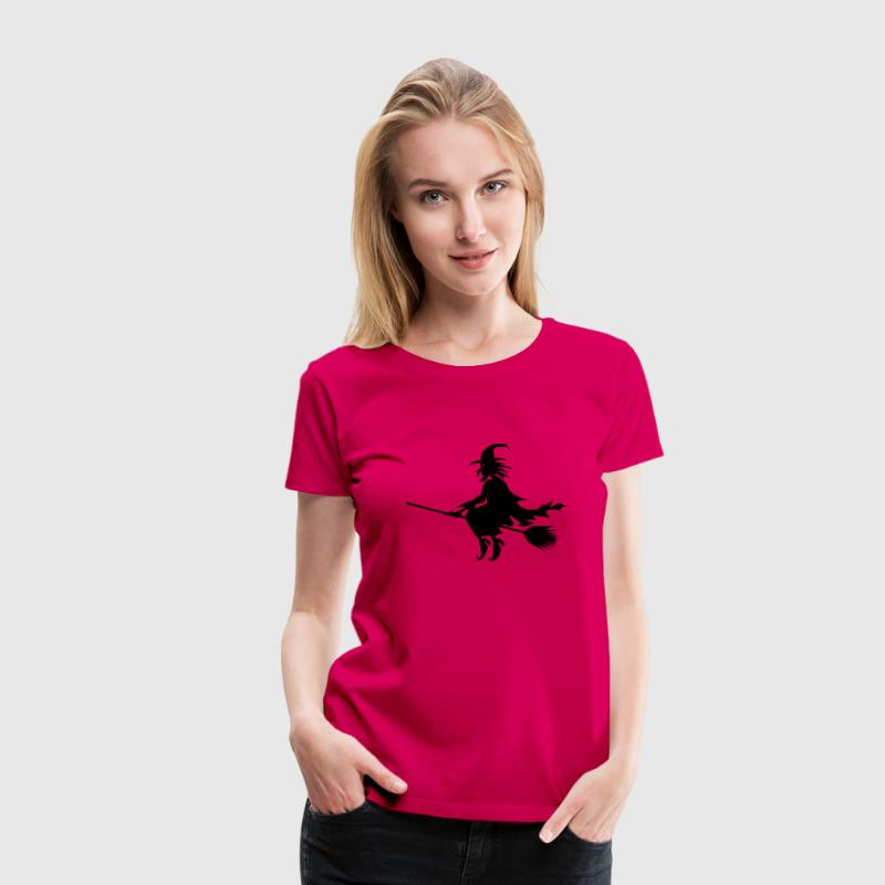 Halloween witch flying on a broom stick Women's T-Shirts - Women's Premium T-Shirt