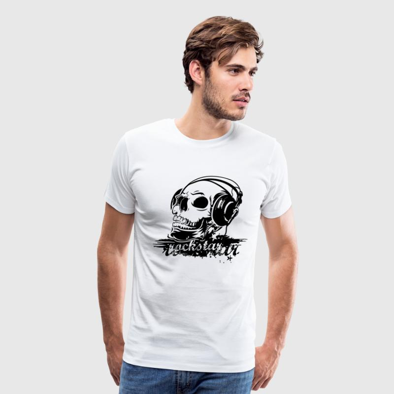 Fashionable cool vintage Rock music star with skull headphones and music T-Shirts - Men's Premium T-Shirt