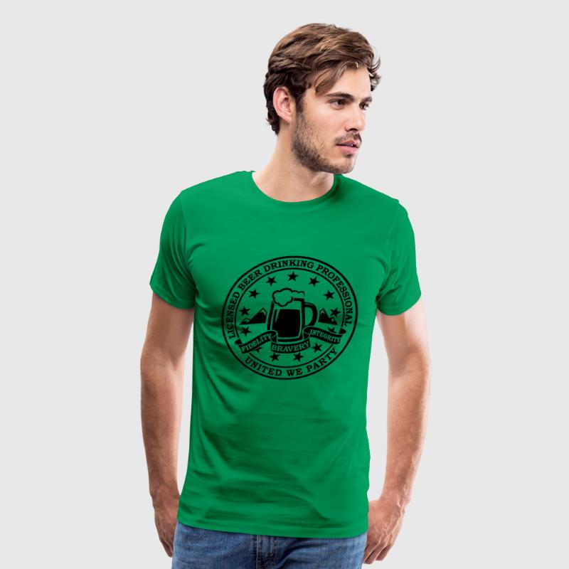 Funny i love beer alcohol drinking license badge t-shirts for drunk clubbing stag partying st patrick keg frat party T-Shirts - Men's Premium T-Shirt