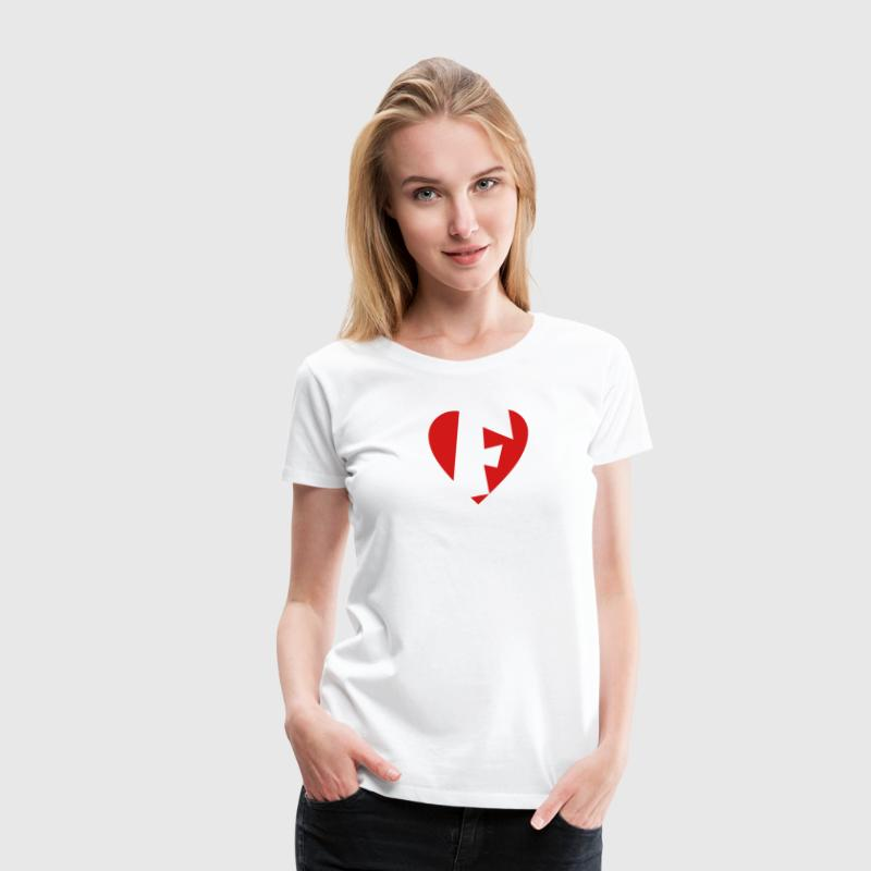 I love F T-Shirt - Heart F - Heart with letter F - Women's Premium T-Shirt