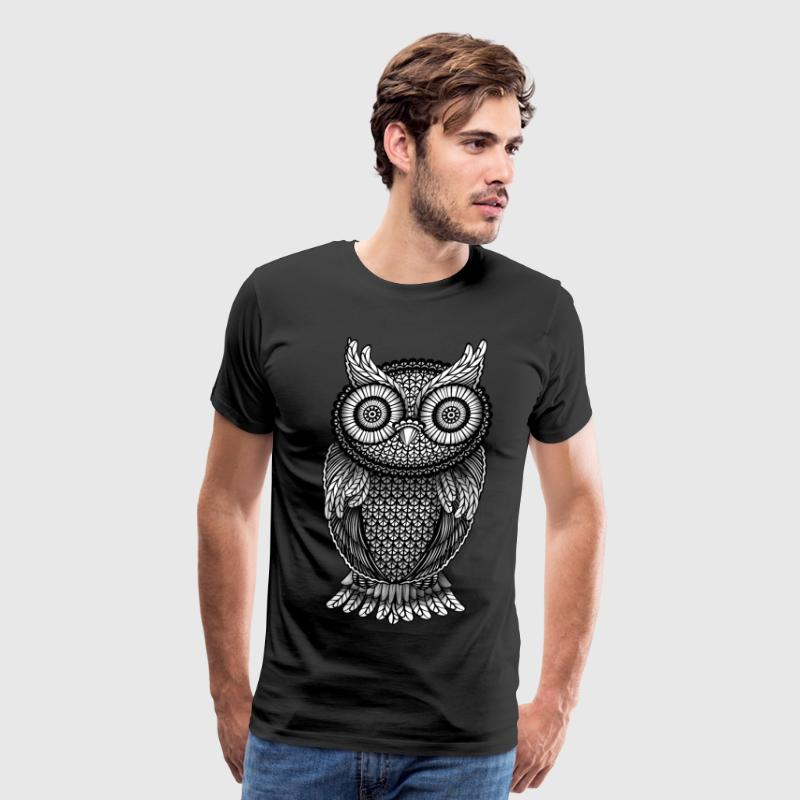 ornamental Owl Design black and white T-Shirts - Men's Premium T-Shirt