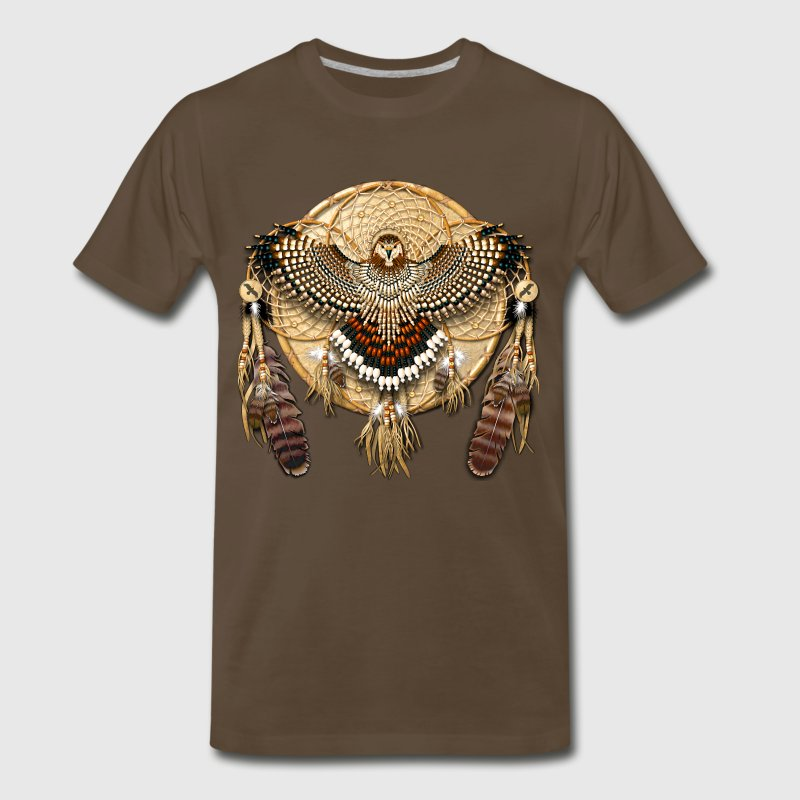 Red-Tailed Hawk Native American Mandala - Men's Premium T-Shirt
