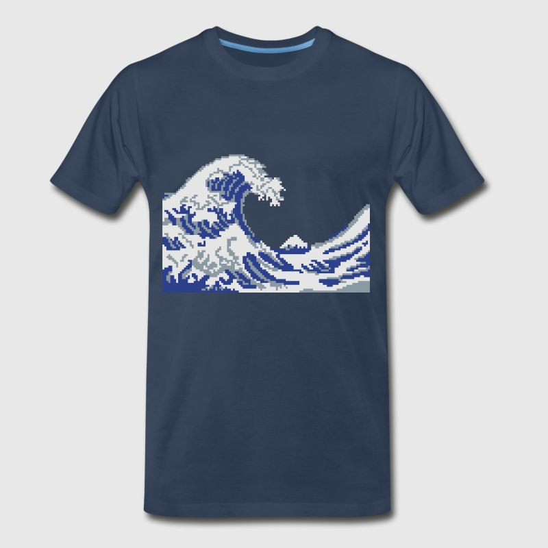 Hokusai Wave Pixel art T-Shirts - Men's Premium T-Shirt