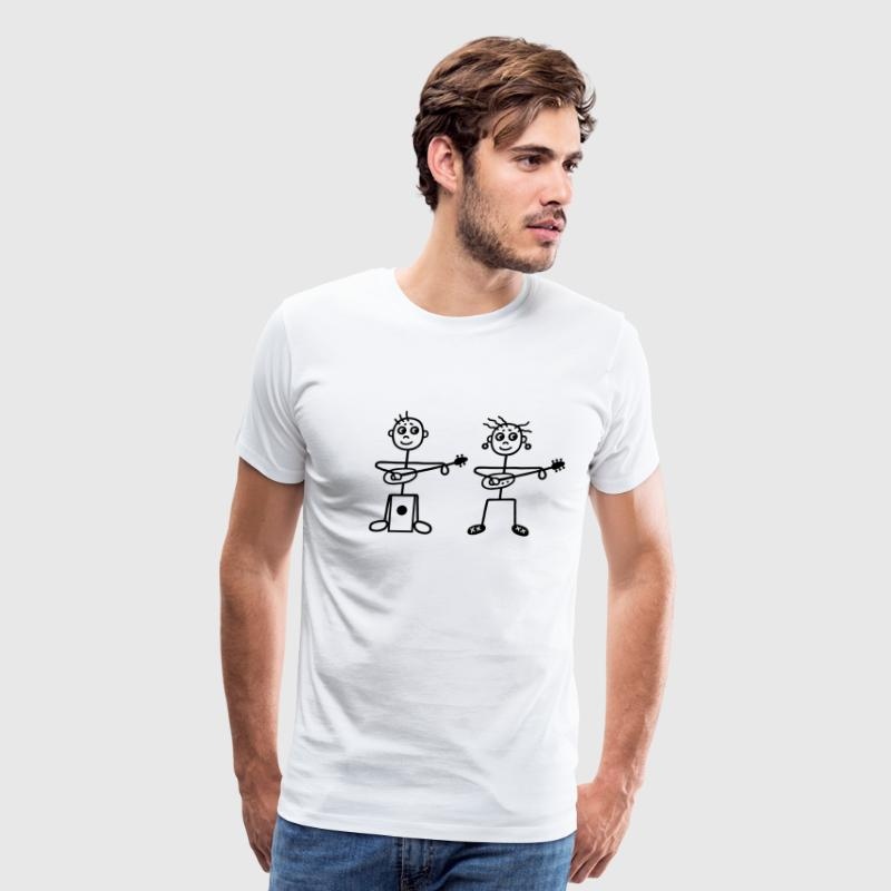 2 guitarists with cajon T-Shirts - Men's Premium T-Shirt