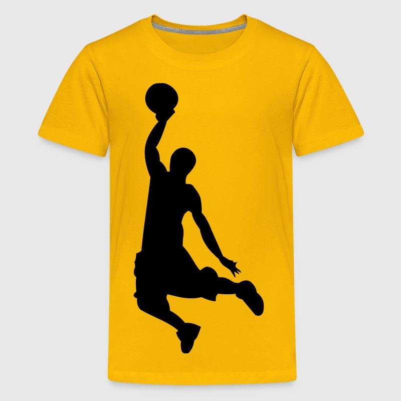 Basketball Dunk Silhouette Kid's Yellow Shirt - Kids' Premium T-Shirt