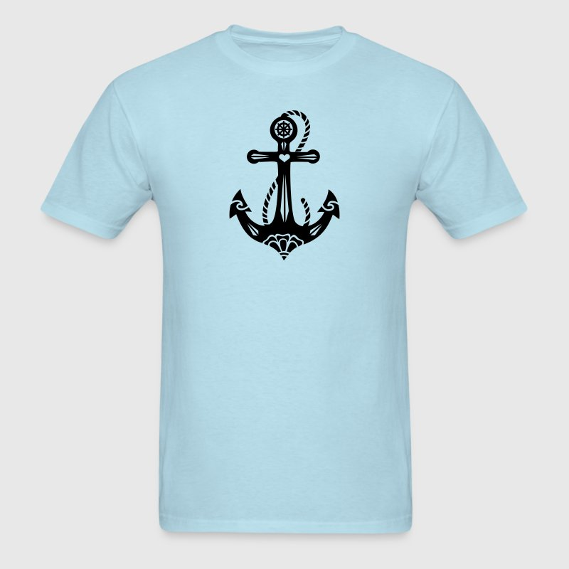 Anchor & Sacred Rose, Symbol Hope, Faith & Love T-Shirts - Men's T-Shirt