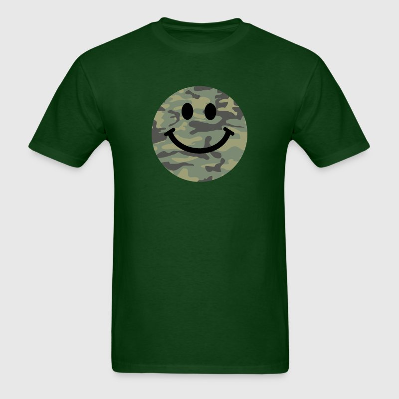 Army green camo Smiley face T-Shirts - Men's T-Shirt