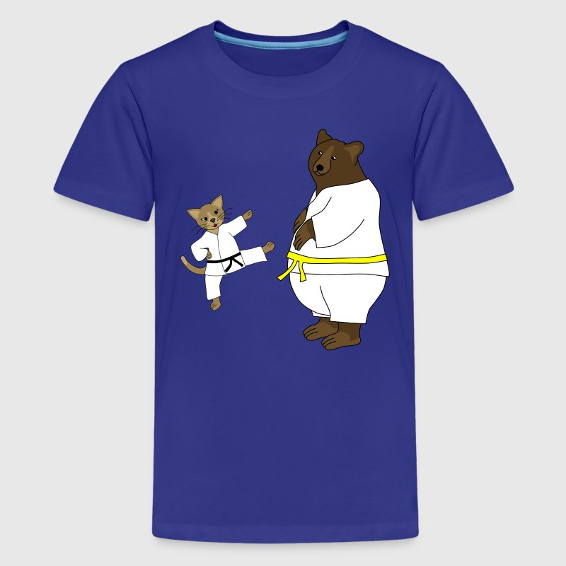 taekwondo cat and bear Kids' Shirts - Kids' Premium T-Shirt