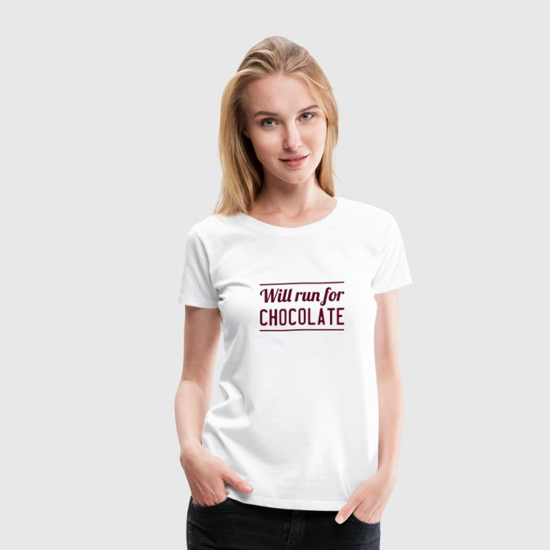 Will Run for Chocolate Women's T-Shirts - Women's Premium T-Shirt