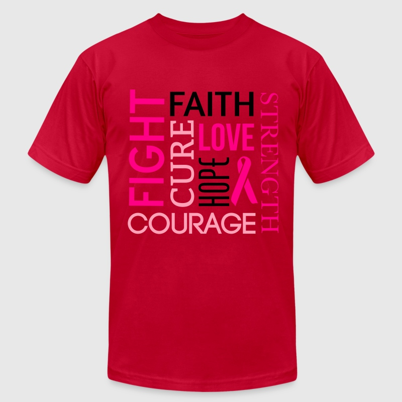 Breast Cancer Word Cloud T-Shirts - Men's T-Shirt by American Apparel