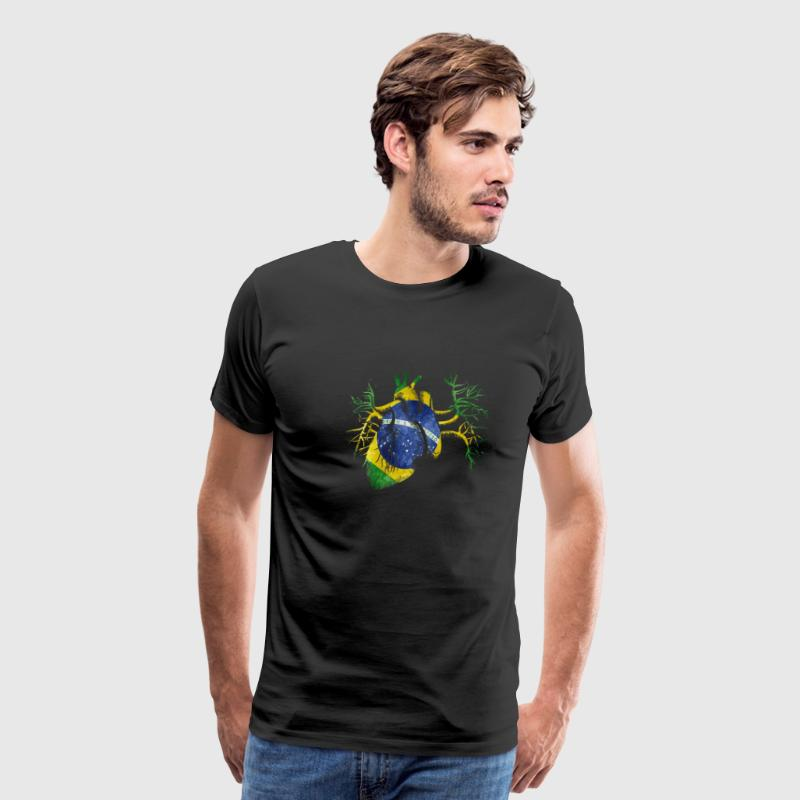 Brazil Flag in Real heart T-Shirts - Men's Premium T-Shirt