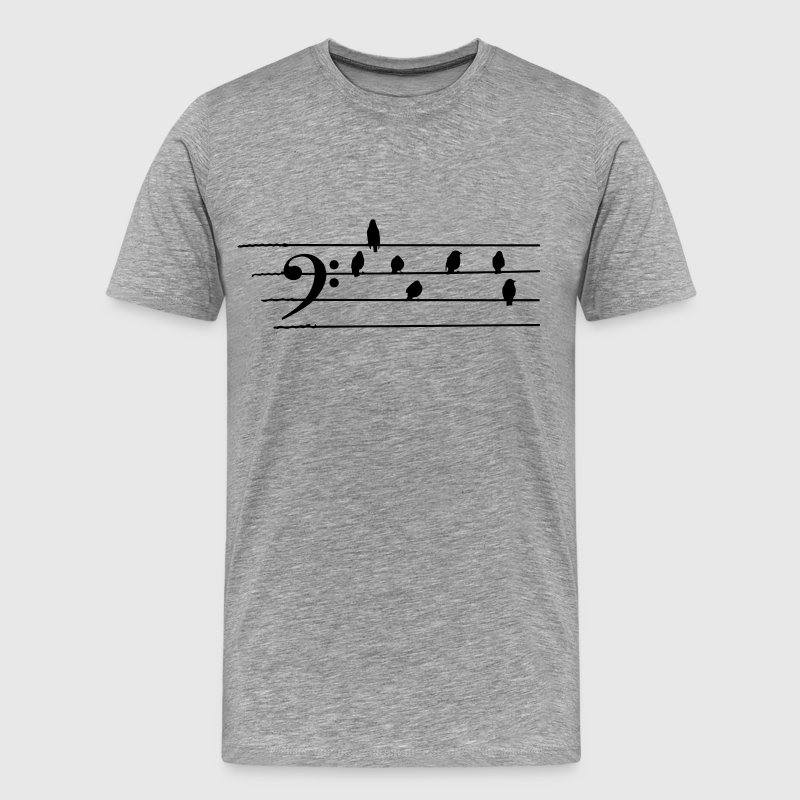 Music - Bass Clef birds as notes T-Shirts - Men's Premium T-Shirt