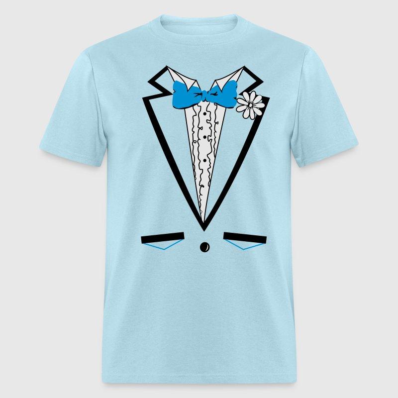 Vintage blue tuxedo tux t shirt t shirt spreadshirt for Tuxedo shirt vs dress shirt