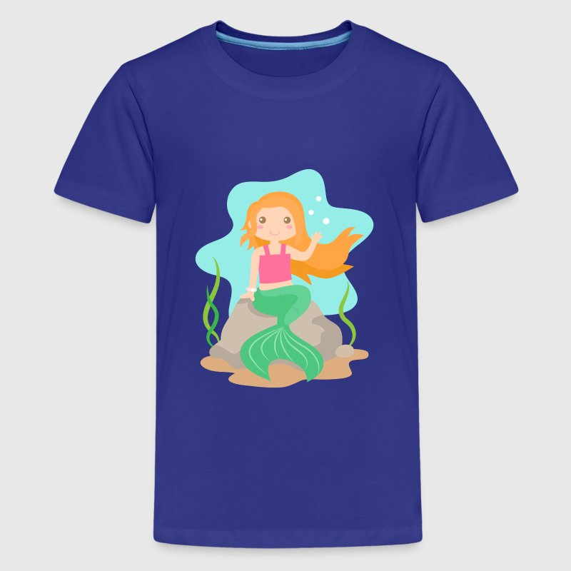 cute mermaid with orange hair under the sea Kids' Shirts - Kids' Premium T-Shirt
