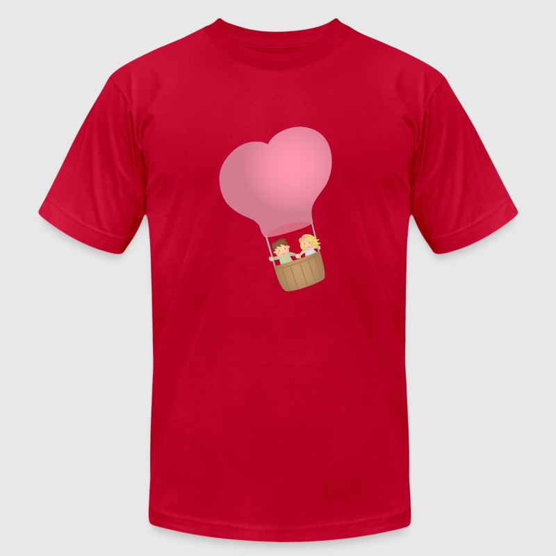 couple in love on hot air balloon T-Shirts - Men's T-Shirt by American Apparel
