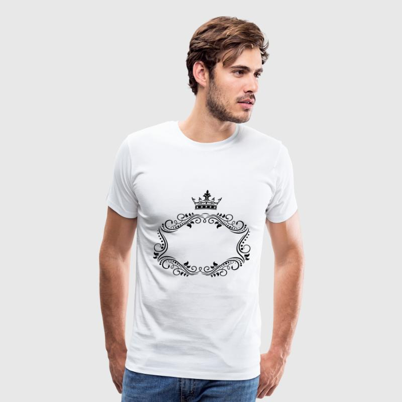 elegant royal frame with crown - Men's Premium T-Shirt