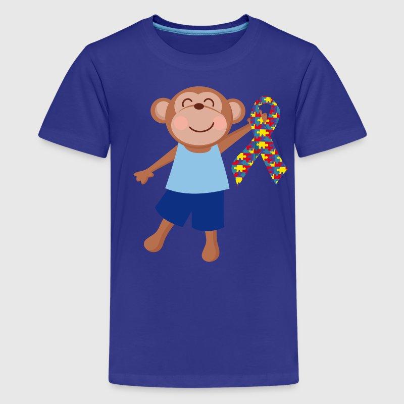 Autism Puzzle Ribbon Kids Monkey T Shirt Spreadshirt