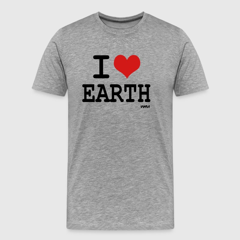 Heather grey i love earth by wam T-Shirts - Men's Premium T-Shirt