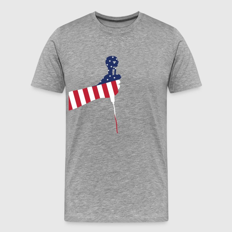 Heather grey American microphone T-Shirts - Men's Premium T-Shirt