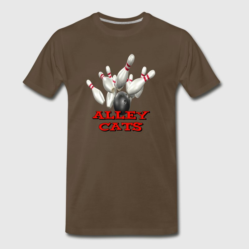 Brown Bowling Team Alley Cats T-Shirts - Men's Premium T-Shirt