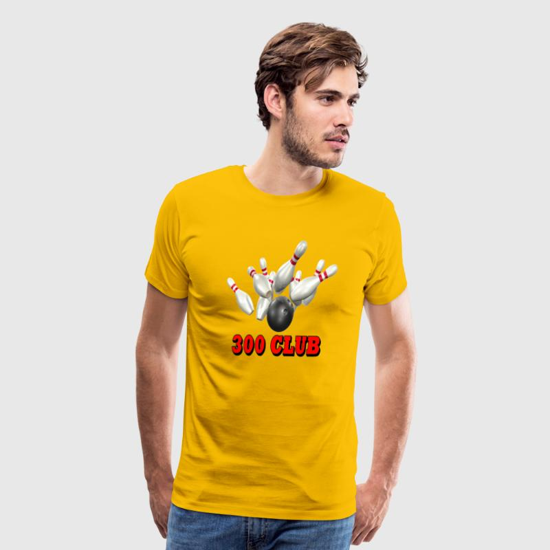 Gold Bowling Team 300 Club T-Shirts - Men's Premium T-Shirt