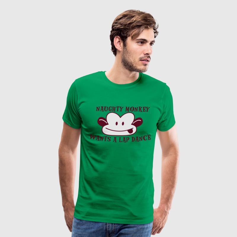 Kelly green RUDE naughty monkey wants a lap dance T-Shirts - Men's Premium T-Shirt