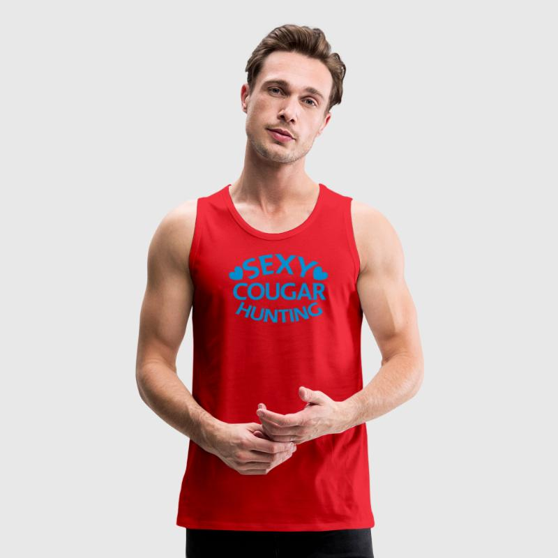 sexy cougar hunting hunter with little love hearts T-Shirts - Men's Premium Tank