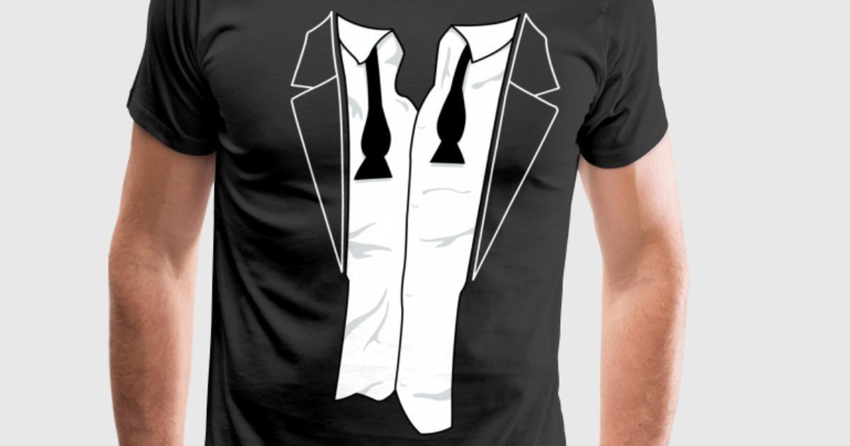 Disheveled tuxedo shirt t shirt spreadshirt for Make your own tuxedo t shirt