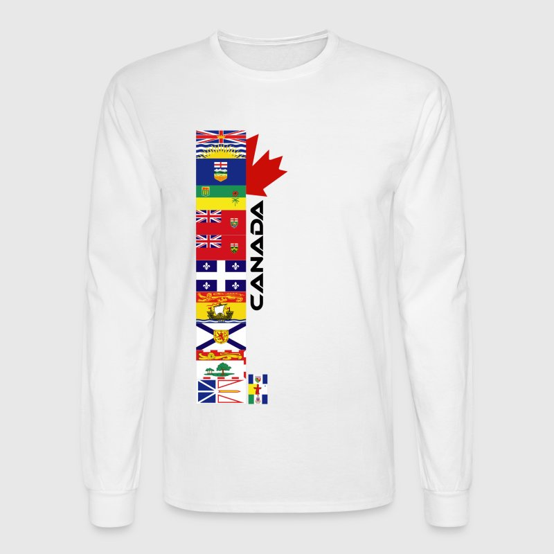 White Canadian Provinces Long Sleeve Shirts - Men's Long Sleeve T-Shirt