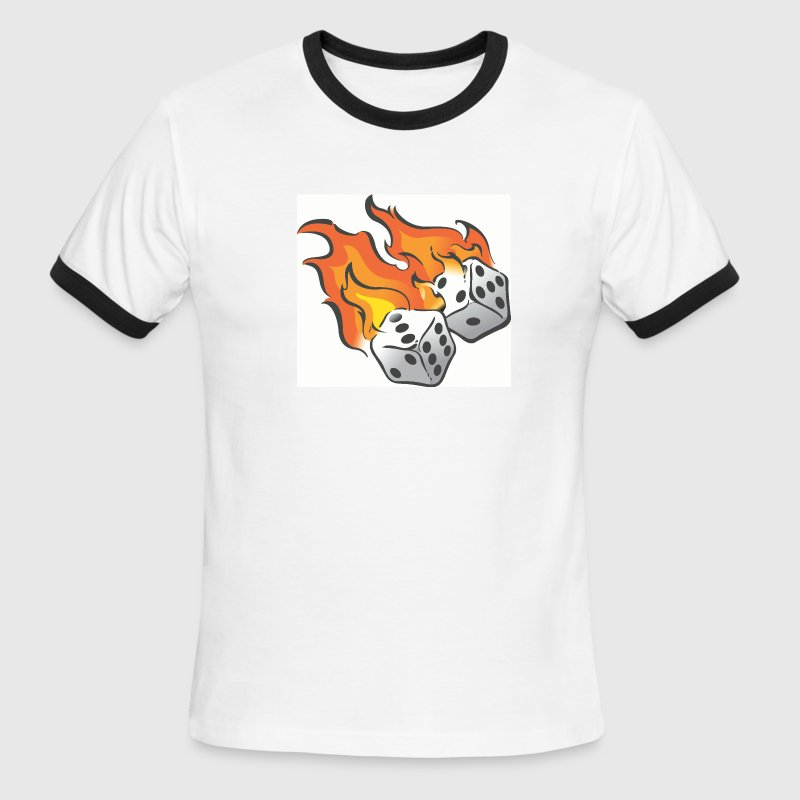 White/black Flaming Dice T-Shirts - Men's Ringer T-Shirt