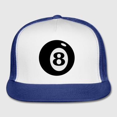 White number 8 ball (2c) Buttons - Trucker Cap
