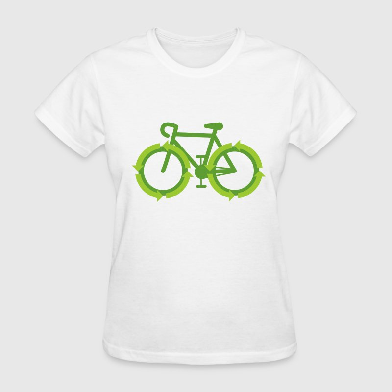 White Go Green Bike Recycle  Women's T-Shirts - Women's T-Shirt